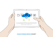 Cloud service on tablet vector illustration vector illustration