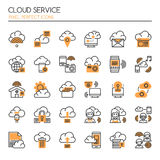 Cloud Service. Thin Line and Pixel Perfect Icons Stock Photo