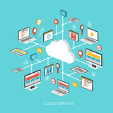 Cloud services concept 3d isometric infographic Royalty Free Stock Images