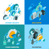 Cloud Services Concept Icons Set. With data center and internet security symbols isometric  vector illustration Stock Images