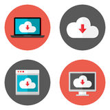 Cloud Services Flat Icons Set Royalty Free Stock Photo