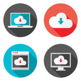 Cloud Services Flat Icons with Shadows Set Stock Photos