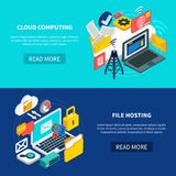 Cloud Computing And File Hosting Banners Royalty Free Stock Image