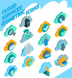 Cloud Services Icons Set. Cloud services isometric icons set with information storage symbols  vector illustration Stock Photo
