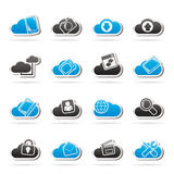 Cloud services and objects icons Royalty Free Stock Images