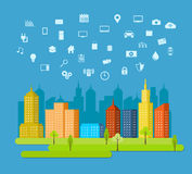 Cloud services. Smart city. IoT. Abstract technology background Stock Photo