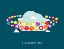 Cloud services technology.  Multimedia cloud computing Royalty Free Stock Image
