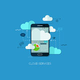 Cloud services vision flat web infographic technology application internet business concept vector. Design elements for web and mobile applications Stock Illustration