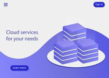 Cloud services for your needs, big modern data center, server room, cloud data storage files service, data processing. royalty free illustration