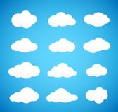 Cloud. Set clouds on blue background. Vector icon Stock Photography
