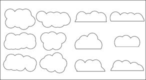 Cloud set icon linear style Stock Image