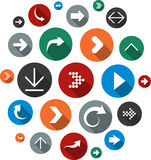 Cloud set of round modern arrow icons. Royalty Free Stock Photos
