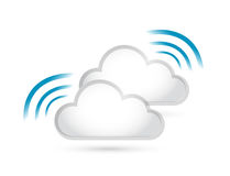 Cloud set and wifi signal sign illustration Stock Images
