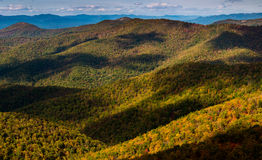 Cloud shadows on the Blue Ridge, seen from Blackrock Summit, alo Stock Photos