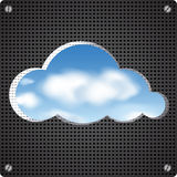 Cloud shape cut out from perforated metal Royalty Free Stock Image