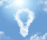 Cloud in the shape of lightbulb. Flossy cloud in the shape of lightbulb Stock Images