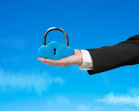 Cloud shape lock on hand Royalty Free Stock Photos