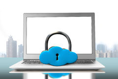Cloud shape lock on laptop Royalty Free Stock Photography