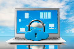 Cloud shape lock with laptop on table Stock Images