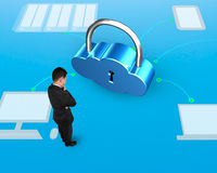 Cloud shape lock with man standing, 3D illustration Stock Image