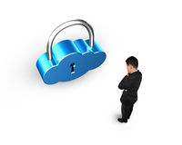 Cloud shape lock with man standing Stock Photo