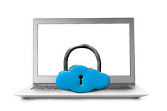 Cloud shape lock with notebook Stock Image