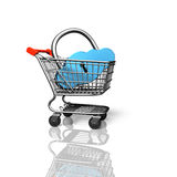 Cloud shape lock in shopping cart, 3D rendering Royalty Free Stock Photography