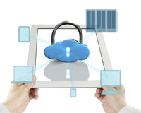 Cloud shape lock on tablet with computing decives Stock Images