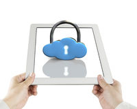 Cloud shape lock on tablet Royalty Free Stock Photography