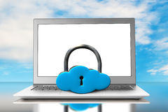 Cloud shape locker and laptop with blue sky Stock Image