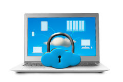 Cloud shape locker on laptop with devices drawing stock photography