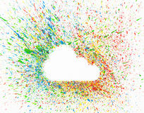Cloud shape over background with colorful splashes Stock Photography