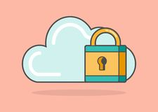 Cloud shape with a padlock Stock Photos