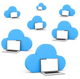 Cloud shape speech bubble with laptops Royalty Free Stock Images