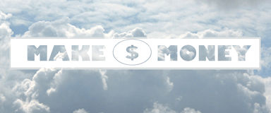 Cloud shaped as make money Message Stock Photo