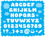 Cloud-shaped font. Vector text type in the shape of puffy clouds for children Stock Image