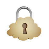 Cloud shaped padlock Royalty Free Stock Image