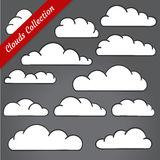 Cloud shapes collection. Cartoon Cloud contours set. Stock Image
