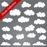 Cloud shapes collection. Cartoon Cloud contours set. Stock Photo