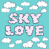 Cloud shapes collection. Cartoon cloud of text sky love Royalty Free Stock Images