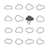 Cloud shapes collection. Cloud icons for cloud computing web and Royalty Free Stock Images