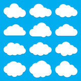 Cloud Shapes collection. Set of Flat Cloud Icons. Cloud shapes flat icons set. Cloud symbols. Collection of cloud pictograms. Vector icons of a clouds in flat Stock Images