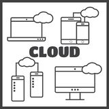Cloud shapes set. Cloud icons for computing, app Royalty Free Stock Photo