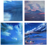 Cloud Shapes in the Sky. Four very different representations of skys. Some are slightly stylised. These are painted images on canvas and as such show paint Stock Photos