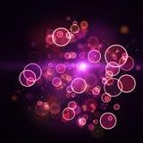 Cloud of shining magenta circle lights Royalty Free Stock Photo