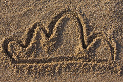 Cloud sign in sand. Closeup of a cloud sign in sand on a beach Stock Image
