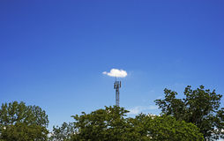 Cloud on signal pole Royalty Free Stock Photos