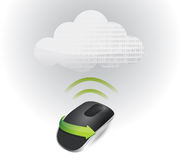 Cloud signal and Wireless computer mouse Stock Images
