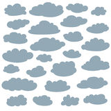Cloud silhouettes collection. Set of vector cartoon cute simple clouds shapes Stock Photo