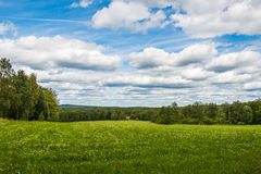Cloud skies over summer field. Green summer field in swedish country side stock photos
